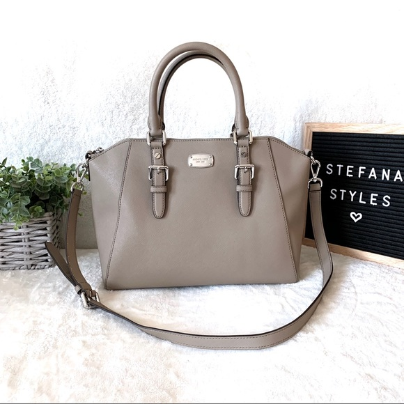 Michael Kors Handbags - Michael Kors Grey Saffiano Leather Satchel Handbag